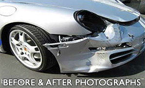 Auto body repair shop, car wreck image