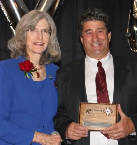 Novato Mayor Jeanne MacLeamy presenting Blake Andros with the Key to The City